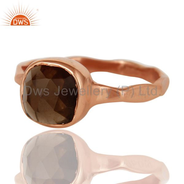 Exporter Rose Gold Plated Rose Cut Smokey Quartz Sterling Silver Stackable Ring
