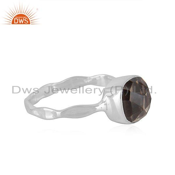Exporter New Look Sterling Fine Silver Smoky Quartz Gemstone Ring Jewelry