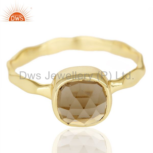 Exporter Smoky Topaz Cushion Shape Studded Gold Plated Hammered Ring  In Solid Silver