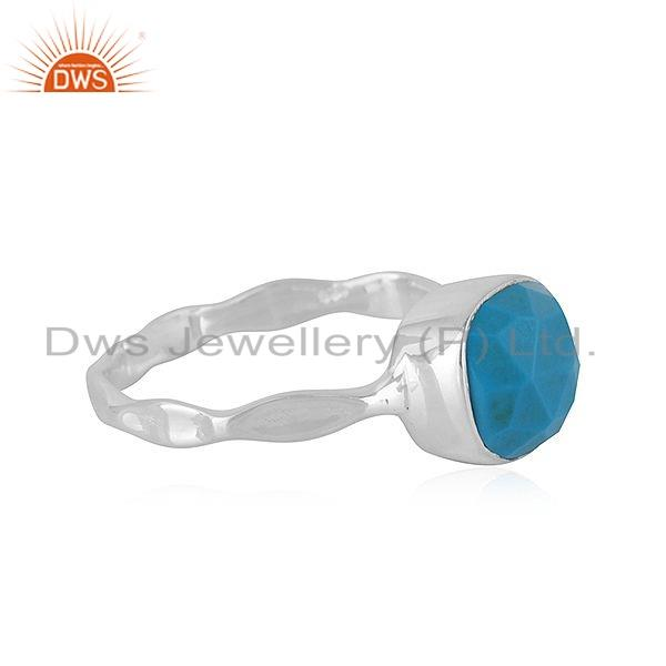 Exporter 925 Sterling Fine Silver Natural Turquoise Gemstone Girls Ring Jewelry