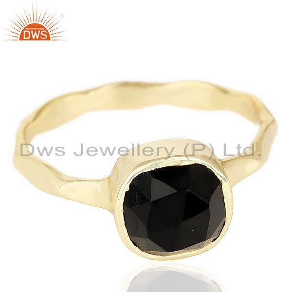 Exporter Black Onyx Cushion Shape Studded Gold Plated Hammered Ring  In Solid Silver