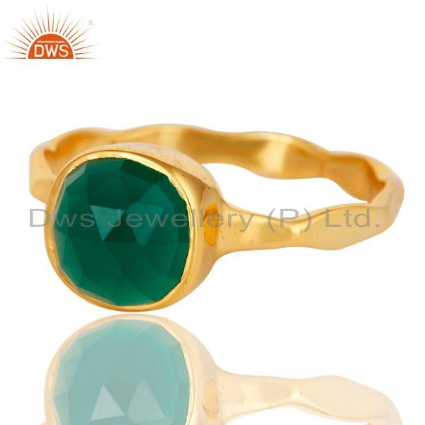 Exporter 18K Yellow Gold Plated Green Onyx Sterling Silver Stackable Ring