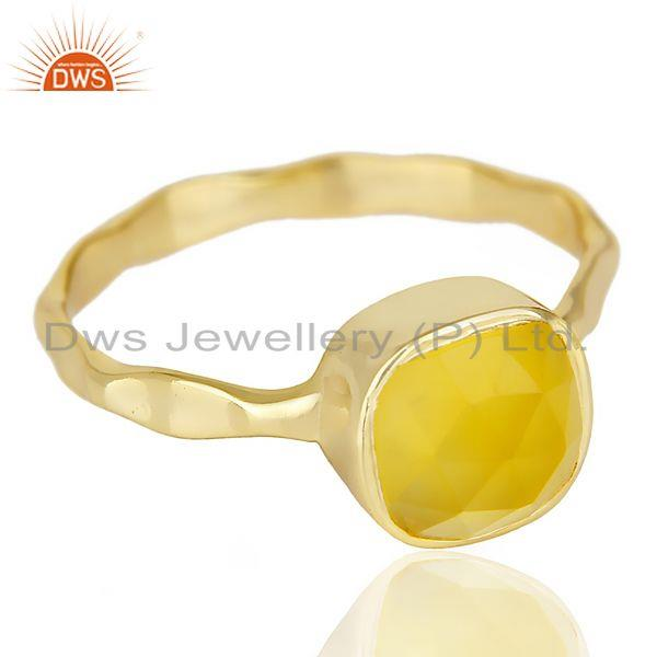 Exporter Yellow Chalcedony Cushion Shape Gold Plated Hammered Ring  In Solid Silver