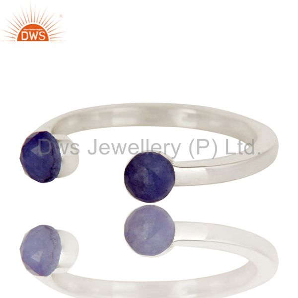 Exporter Handmade Solid 925 Sterling Silver Dyed Sapphire Openable Stackable Ring Jewelry