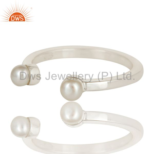 Exporter Beautiful White Pearl Bead and Sterling Silver Open Stackable Ring