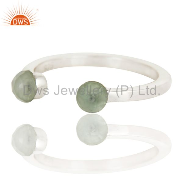 Exporter Beautiful Aqua Chalcedony Bead and Sterling Silver Open Stackable Ring