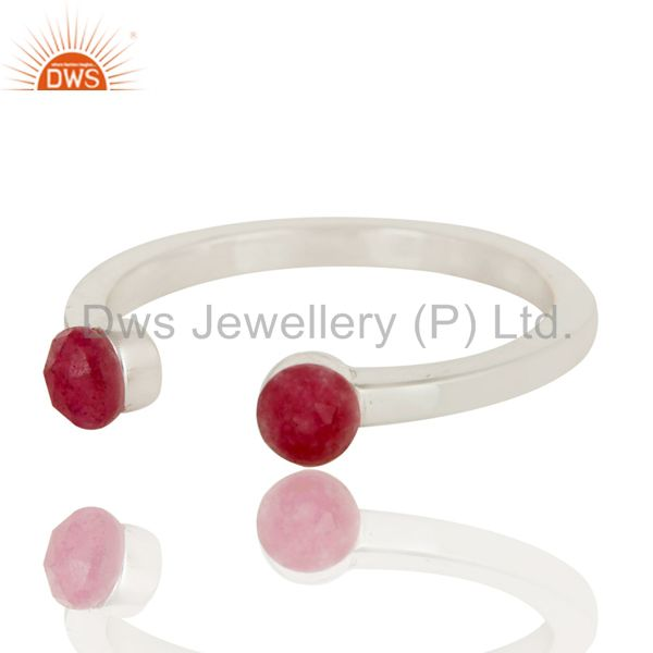 Exporter Beautiful Dyed Ruby and Sterling Silver Open Stackable Ring