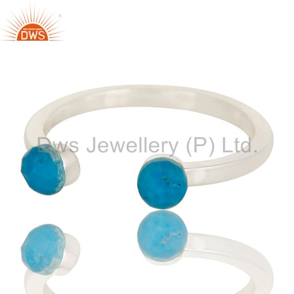 Exporter Beautiful Turquoise and Sterling Silver Open Stackable Ring
