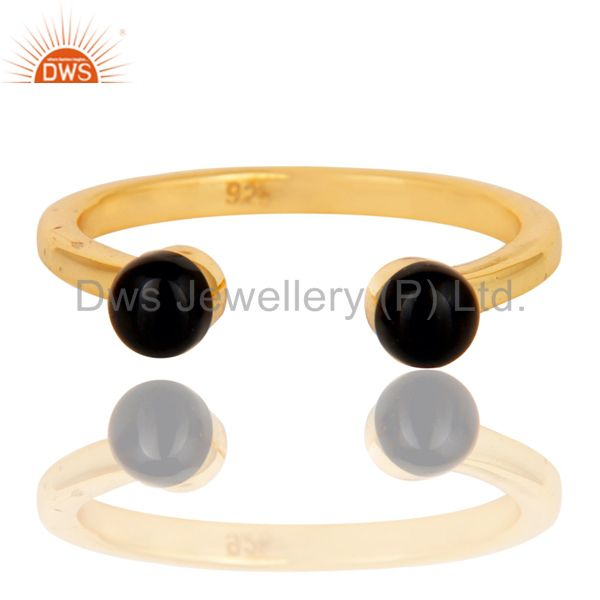 Exporter Black Onyx Bead and Sterling Silver Gold Plated Open Ring