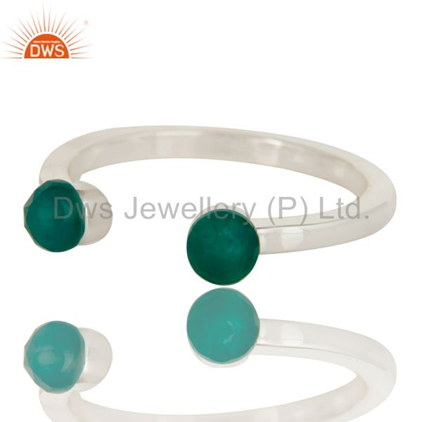 Exporter Green Onyx and Sterling Silver Open Stackable Ring