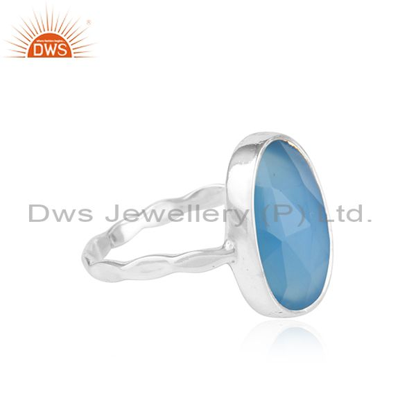 Exporter Natural Blue Chalcedony Gemstone New Sterling Fine Silver Ring Jewelry