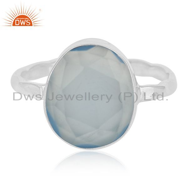 Exporter Handmade 925 Silver Blue Chalcedony Gemstone Ring Manufacturers from India
