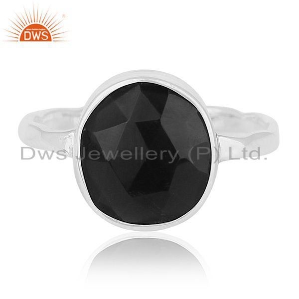 Exporter Multi Checkerboard Black Onyx Gemstone 92.5 Silver Handmade Ring Manufacturer