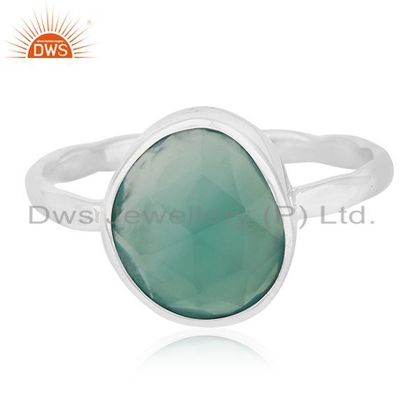Exporter Bezel Set Green Onyx Gemstone 925 Sterling Silver Ring Jewelry Wholesale