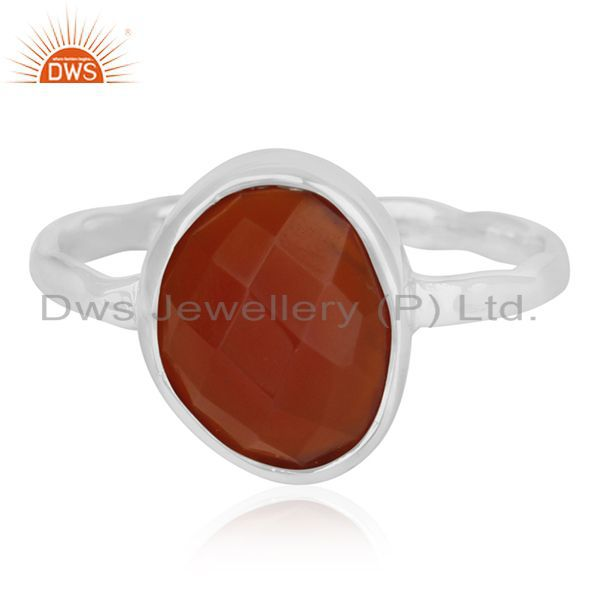 Exporter Red Onyx Gemstone Sterling 925 Silver Ring Jewelry Manufacturer for Retailers
