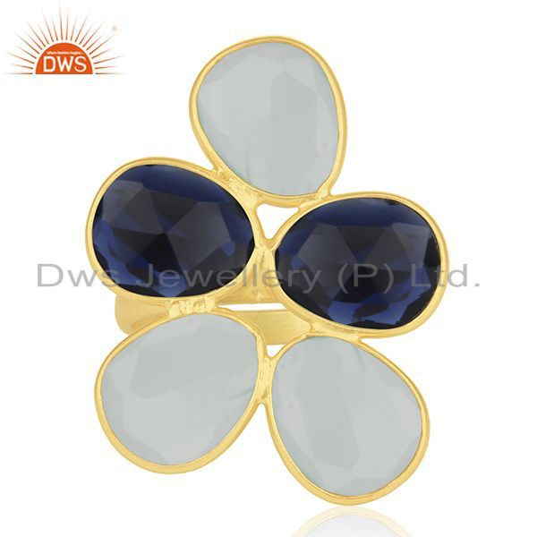 Exporter Gold Plated 925 Silver Multi Gemstone Cocktail Ring Manufacturer Custom Jewelry