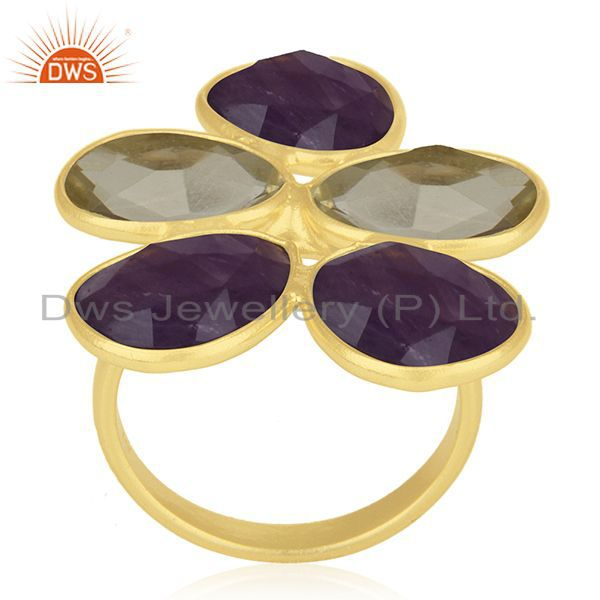 Exporter Lemon Topaz and Amethyst Gemstone 925 Silver Gold Plated Cocktail Ring Wholesale