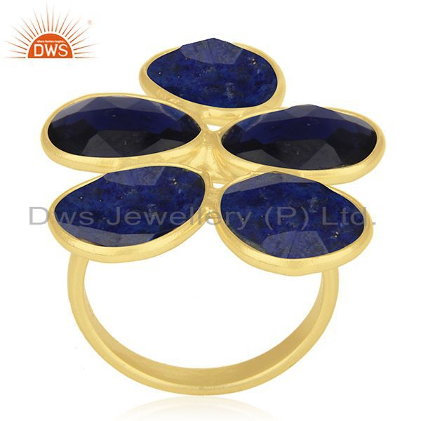 Exporter Lapis Lazuli and Blue Corundum Gemstone Sterling Silver Gold Plated Ring