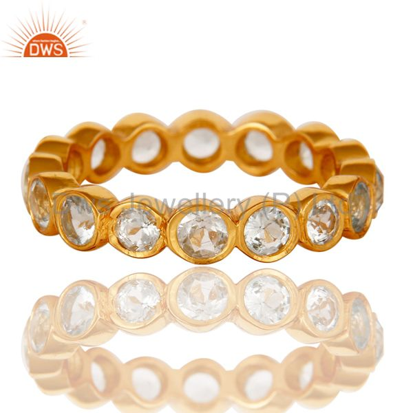Exporter 18K Gold Plated Sterling Silver Blue Topaz Ring Gemstone Band