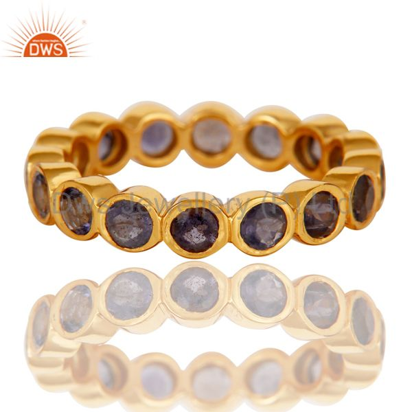 Exporter 18K Yellow Gold Plated 925 Sterling Silver Iolite Gemstone Band Ring