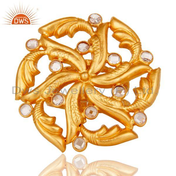 Exporter Top Quality 22k Gold Plated White Zircon 925 Sterling Silver Ring Jewelry