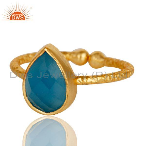 Exporter 18k Gold Plated 925 Sterling Silver Stackable Ring with Chalcedony
