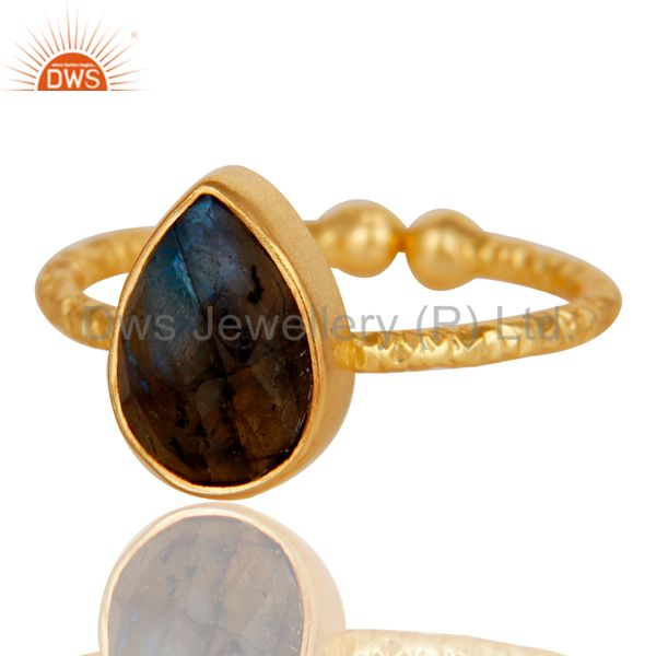 Exporter 18k Gold Plated Sterling Silver Stackable Ring with Labradorite