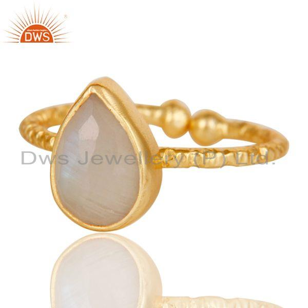 Exporter 18k Gold Plated Sterling Silver Stackable Ring with Rainbow Moonstone