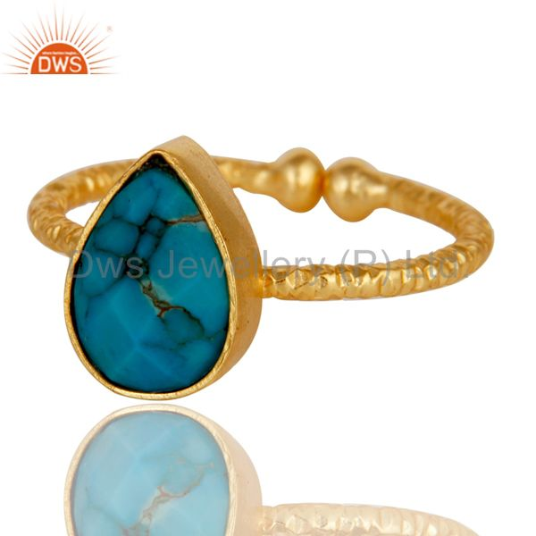 Exporter 18k Gold Plated Sterling Silver Stackable Ring with Turquoise