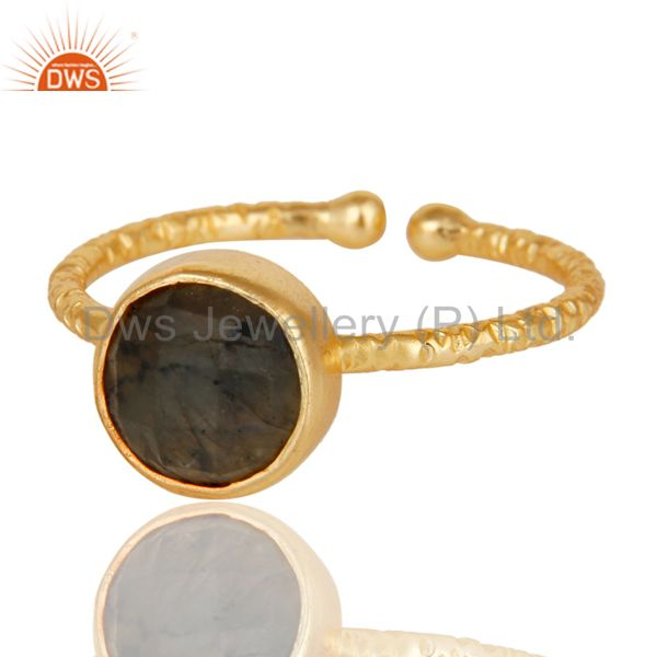 Exporter Handmade Labradorite 18k Gold Plated Sterling Silver Stackable Ring