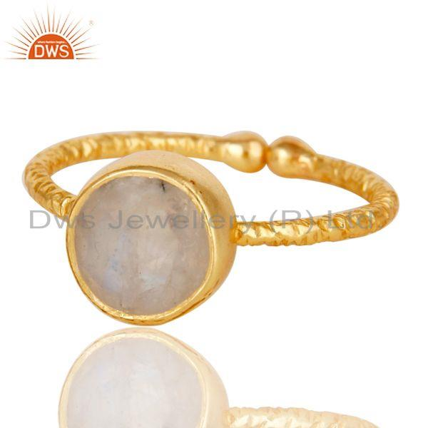 Exporter 18k Gold Plated Sterling Silver Simple Setting Ring with Moonstone