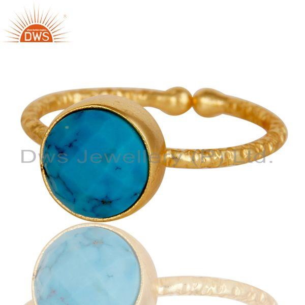 Exporter 18k Gold Plated Sterling Silver Simple Setting Ring with Turquoise