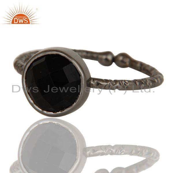 Exporter Black Oxidized Sterling Silver Simple Setting Ring with Black Onyx