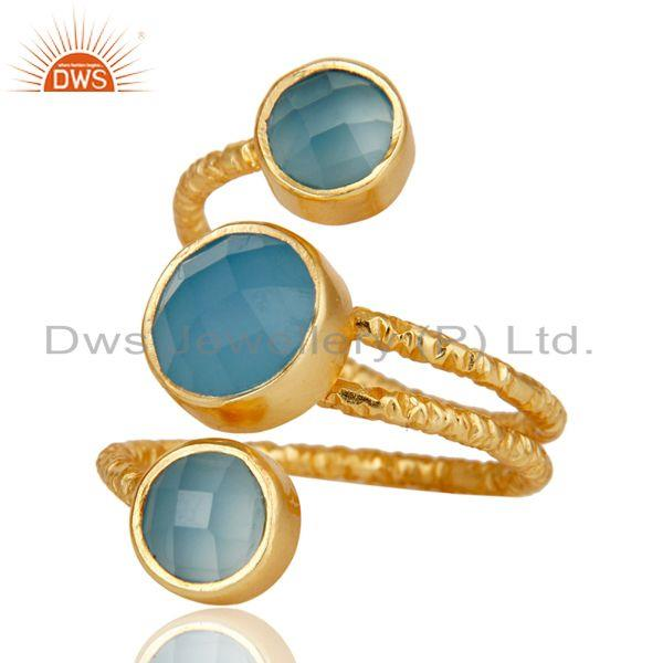 Exporter Chalcedony 925 Sterling Silver Prong Set Joint Ring with 18k Gold Plated