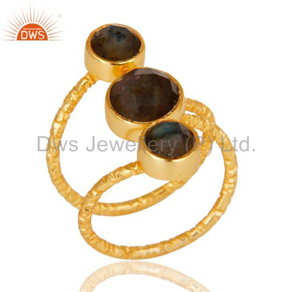 Exporter Labradorite 925 Sterling Silver Prong Set Joint Ring With 18k Gold Plated