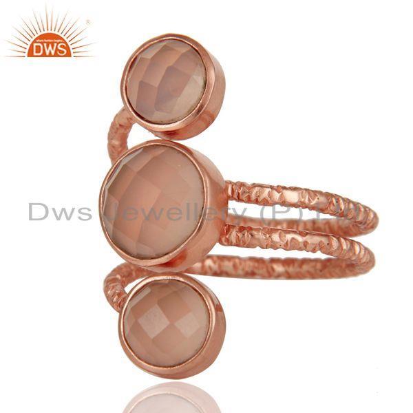 Exporter 18K Rose Gold Plated 925 Sterling Silver Handmade Dyed Chalcedony Statement Ring