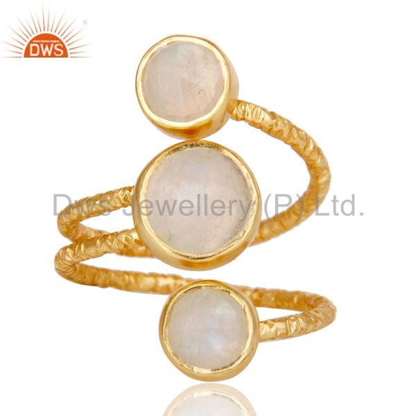 Exporter Rainbow Moonstone Sterling Silver Wire Design Ring with 18k Gold Plated