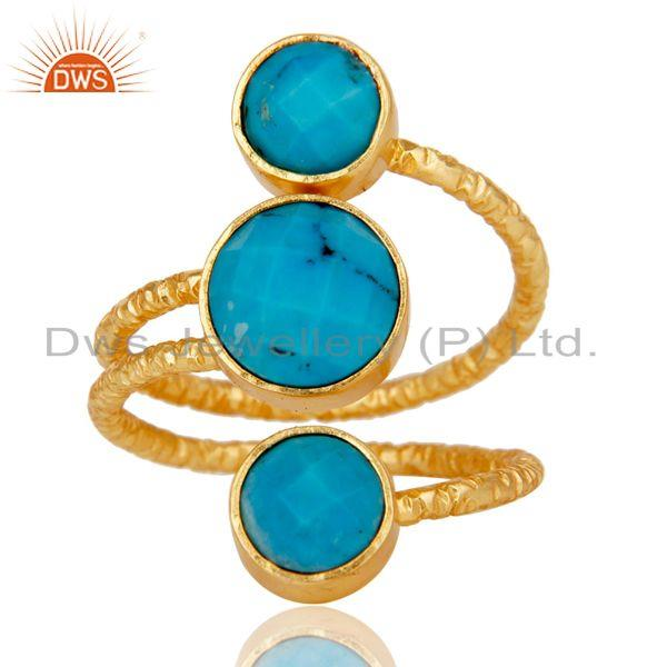 Exporter Natural Turquoise Sterling Silver Wire Design Ring with 18k Gold Plated