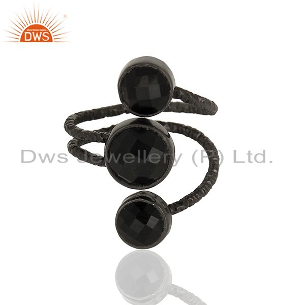 Exporter Handmade Natural Black Onyx Sterling Silver Wire Design Ring with Black Oxidized