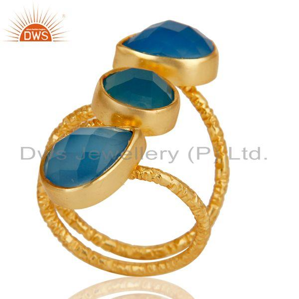 Exporter Handmade Chalcedony Sterling Silver Prong Set Joint Ring with 18k Gold Plated