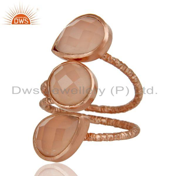 Exporter Lovely Chalcedony Sterling Silver Prong Set Joint Ring with 18k Rose Gold Plated