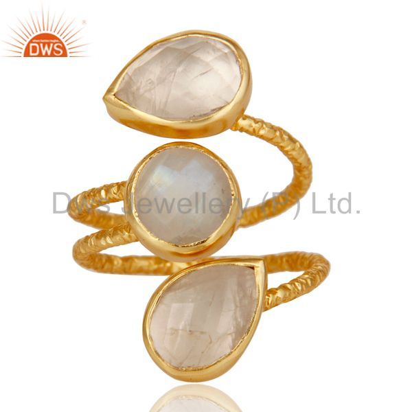 Exporter Rainbow Moonstone Sterling Silver Prong Set Joint Ring with 18k Gold Plated