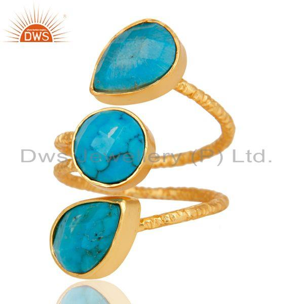 Exporter Natural Turquoise 925 Sterling Silver Prong Set Joint Ring With 18k Gold Plated