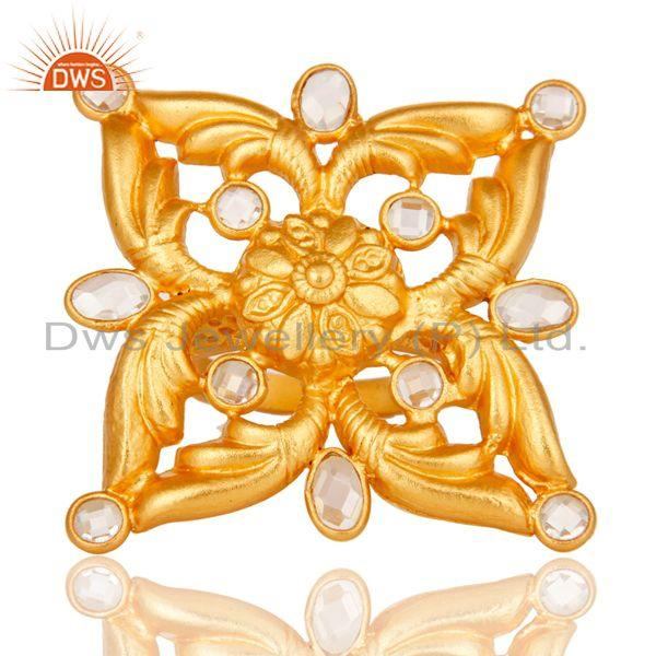 Exporter 18k Gold Plated Sterling Silver Flower Design Ring with White Zircon