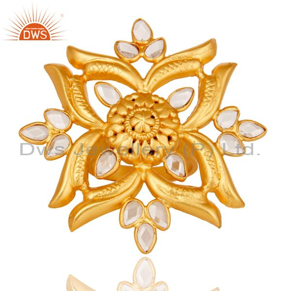 Exporter 18k Yellow Gold Plated 925 Sterling Silver Flower Design Ring with White Zircon