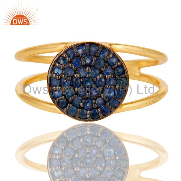 Exporter 18k Yellow Gold Plated 925 Sterling Silver Blue Sapphire Statement Ring