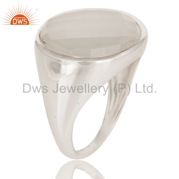 Exporter Natural Chalcedony Fashion Dome Design 925 Sterling Silver Ring