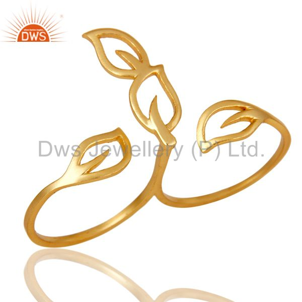 Exporter Traditional Handmade Art Deco 18K Yellow Gold Plated Brass Ring Jewellery