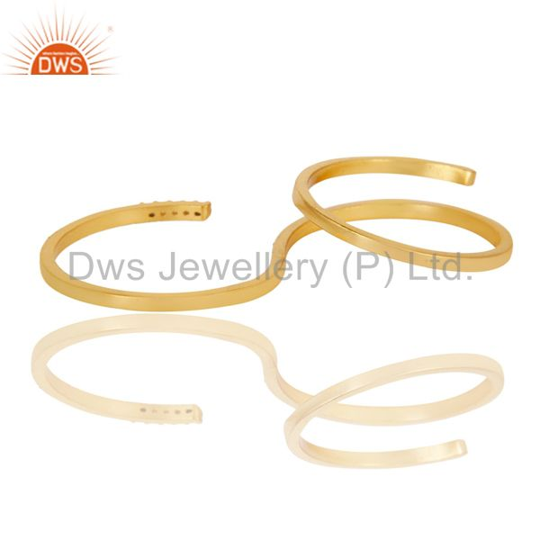 Exporter Beautiful 18K Gold Plated Handmade Double Finger White Zirconia Brass Band Ring