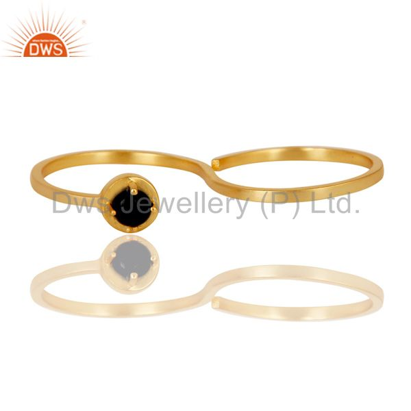 Exporter Double Finger New Fashion Black Onyx Gemstone Brass Ring With 18K Gold Plated